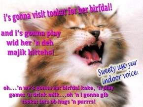 Happee Birfdai, tookat! Hope yu hav a wonderful dai