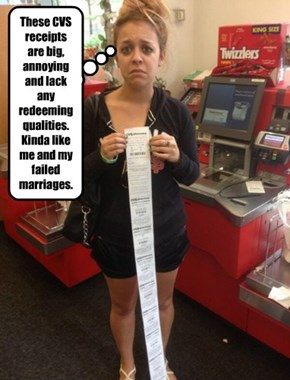 These CVS receipts are big, annoying and lack any redeeming qualities. Kinda like me and my failed marriages.