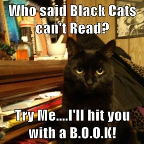 Who said Black Cats can't Read?  Try Me....I'll hit you with a B.O.O.K!