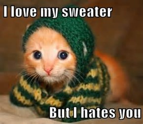 I love my sweater   But I hates you