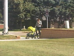 Texting... While Unicycling... While Taking Baby for a Walk