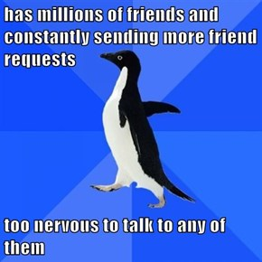 has millions of friends and constantly sending more friend requests  too nervous to talk to any of them