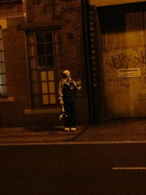 Northampton, UK Man Stands on the Street at Night in a Creepy Clown Costume Just to Freak People Out