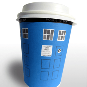 DIY Disposable Coffee Cup Tardis Sleeves!