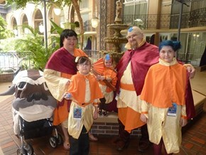Awesome Whole Family Tenzin and Family cosplay With Bonus Appa Stroller!