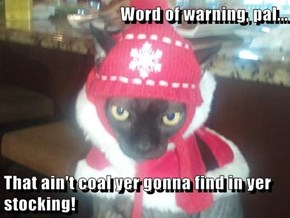Word of warning, pal...  That ain't coal yer gonna find in yer stocking!
