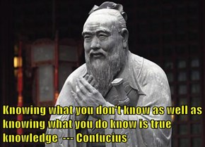 Knowing what you don't know as well as knowing what you do know is true knowledge  --- Confucius