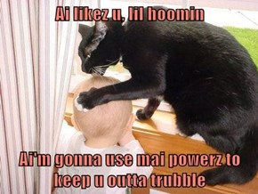 Ai likez u, lil hoomin  Ai'm gonna use mai powerz to keep u outta trubble
