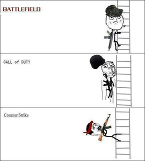 Ways of getting up the ladders in FPS.