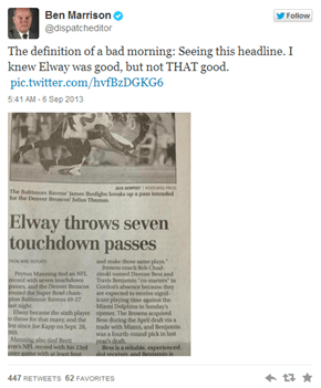 Whoops! The Columbus Dispatch Accidentally Credits John Elway With 7 TD Passes Instead of Peyton Manning