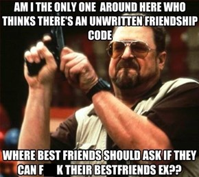 AM I THE ONLY ONE  AROUND HERE WHO THINKS THERE'S AN UNWRITTEN FRIENDSHIP CODE