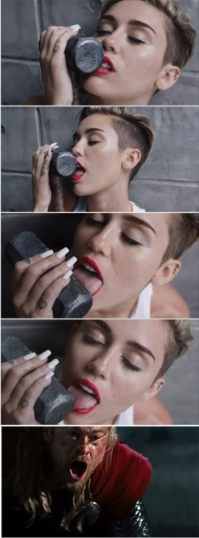 MILEY! PLS STAHP LICKING THINGS