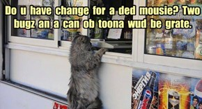 Do  u  have  change  for  a  ded  mousie?  Two bugz  an  a  can  ob  toona  wud  be  grate.