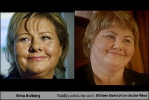 Erna Solberg Totally Looks Like Slitheen Blaine (from Doctor Who)