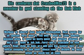 Offishul JeffCatsBookClub Memburship Kard for CrashedMac73