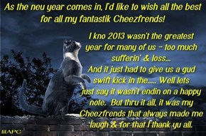 Happy Neu Year to all my great - and crazy - Cheezfrends *raises a glass of wyne* To all of yu, Chimo!