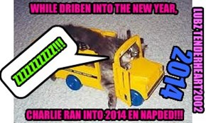 WHILE DRIBEN INTO THE NEW YEAR,         CHARLIE RAN INTO 2014 EN NAPDED!!!