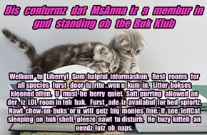 Offishul JeffCatsBookClub Memburship Kard for MsAnna