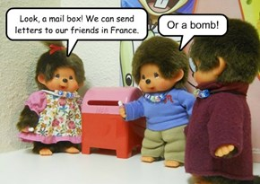 Look, a mail box! We can send letters to our friends in France.