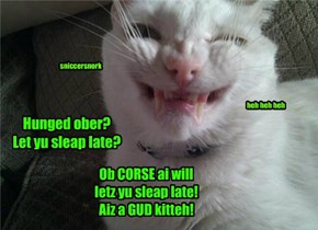 Hunged ober? Let yu sleap late?