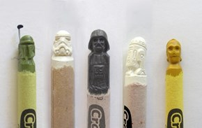 Artsy Fart of the Day: Geeky Crayon Carvings