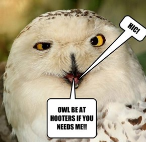 OWL BE AT HOOTERS IF YOU NEEDS ME!!