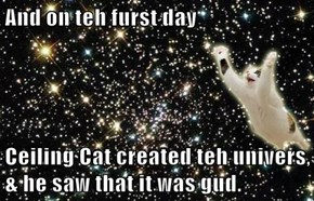 And on teh furst day  Ceiling Cat created teh univers, & he saw that it was gud.