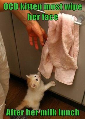 OCD kitten must wipe her face  After her milk lunch
