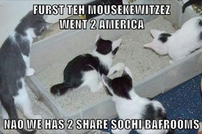 FURST TEH MOUSEKEWITZEZ                    WENT 2 AMERICA  NAO WE HAS 2 SHARE SOCHI BAFROOMS