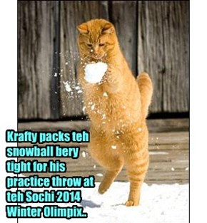 KKPS Skolar Krafty Katt is a favorite in teh Snowball Distance Throw Competition, which is a new event for teh Winter Olimpix dis year..