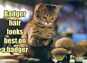 Badger hair looks best on a badger