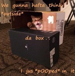 We  gunna  hafta  think *outside* da  box . . I  jus *pOOped* in  it