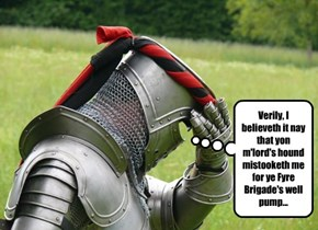 Verily, I believeth it nay that yon m'lord's hound mistooketh me for ye Fyre Brigade's well pump...