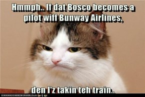 Hmmph.. If dat Bosco becomes a pilot wiff Bunway Airlines,  den I'z takin teh train..