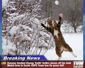 Breaking News - Russian Snoblol Champ 'Kotki' Kotkiv shows off his Gold Medal form in Sochi. KKPS Team has its paws full!