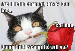 Well Hello Carmen, this is Don Jose,  Carmen, Dump that Escamillo, will ya?