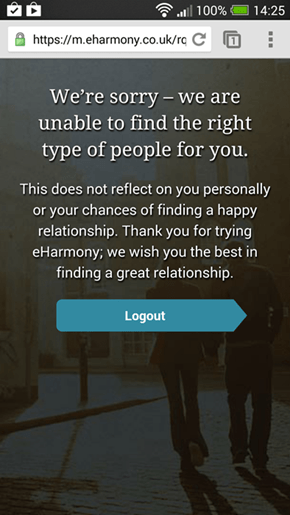 Woah, Rejected by a Dating Web Site?
