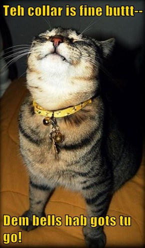 Teh collar is fine buttt--  Dem bells hab gots tu go!