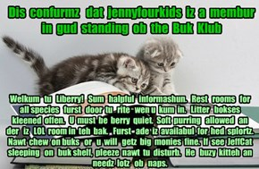 Offishul JeffCatsBookClub Memburship Kard for jennyfourkids