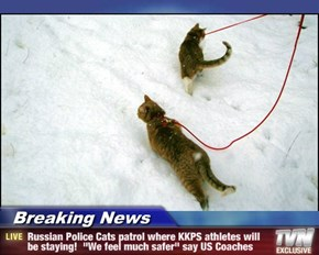 "Breaking News - Russian Police Cats patrol where KKPS athletes will be staying!  ""We feel much safer"" say US Coaches"