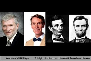 Ken Ham VS Bill Nye Totally Looks Like Lincoln & Beardless Lincoln