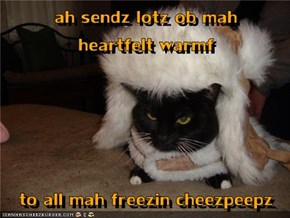 ah sendz lotz ob mah         heartfelt warmf   to all mah freezin cheezpeepz