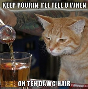 KEEP POURIN, I'LL TELL U WHEN  ON TEH DAWG HAIR
