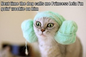 Next time the dog calls me Princess Leia I'm goin' wookie on him