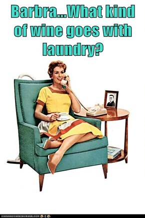 Barbra...What kind of wine goes with laundry?
