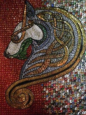 Incredible, Majestic Beer Bottle Cap Art