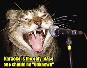 """Karaoke is the only place one should be """"Unknown"""""""