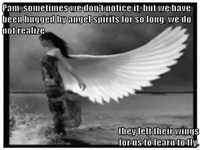 Pam, sometimes we don't notice it, but we have been hugged by angel spirits for so long, we do not realize  they left their wings                                                                                                 for us to learn to fly.