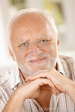 Hide the Pain Harold: Old Guy, Stock Photo Model, Tortured Soul