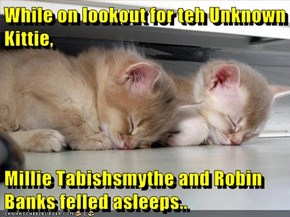 While on lookout for teh Unknown Kittie,  Millie Tabishsmythe and Robin Banks felled asleeps..